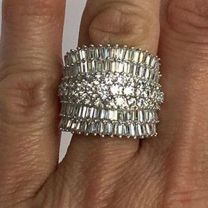 Sterling Silver CZ Cocktail Ring Multi stone 6.75